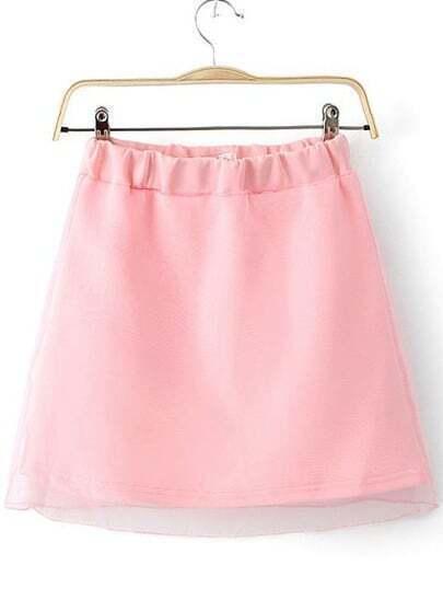 Pink Elastic Waist Mesh Yoke Skirt