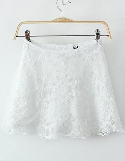White Lace Contrast Organza Skirt