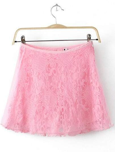 Pink Lace Contrast Organza Skirt