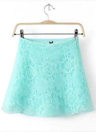 Green Lace Contrast Organza Skirt