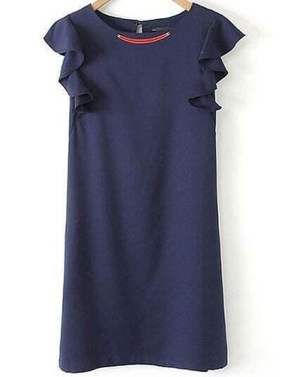 Navy Round Neck Sleeveless Ruffle Slim Dress