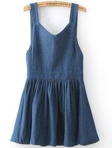 Blue Strap Bow Pleated Denim Dress