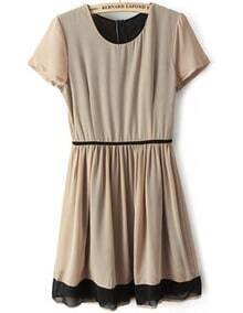 Khaki Short Sleeve Elastic Pleated Chiffon Dress