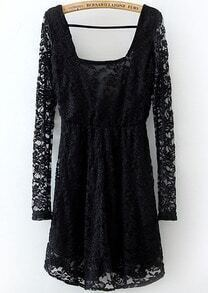 Black Long Sleeve Backless Embroidered Lace Dress