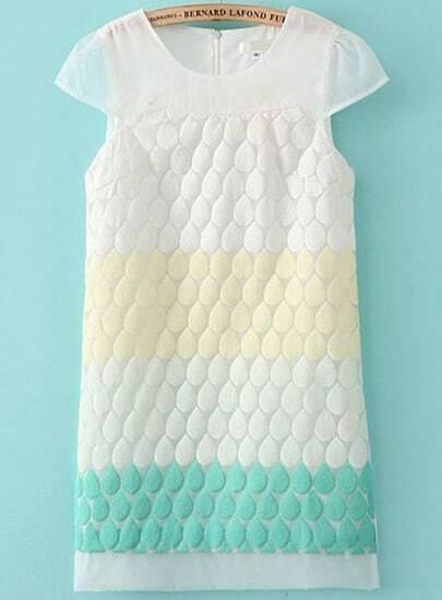 White Short Sleeve Embroidered Polka Dot Dress