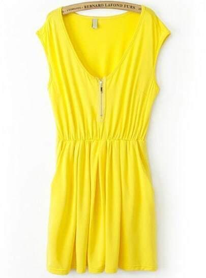 Yellow V Neck Sleeveless Zipper Pleated Dress