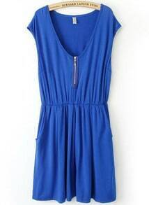 Royal Blue V Neck Sleeveless Zipper Pleated Dress