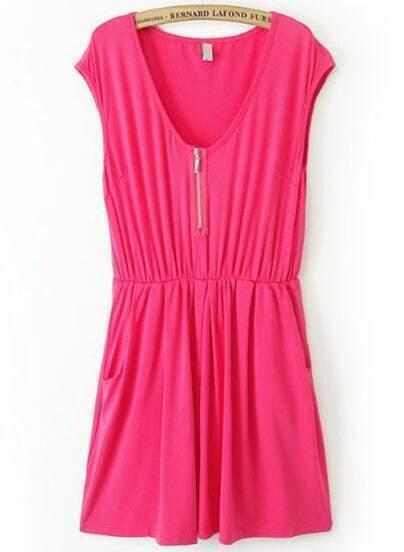 Rose Red V Neck Sleeveless Zipper Pleated Dress