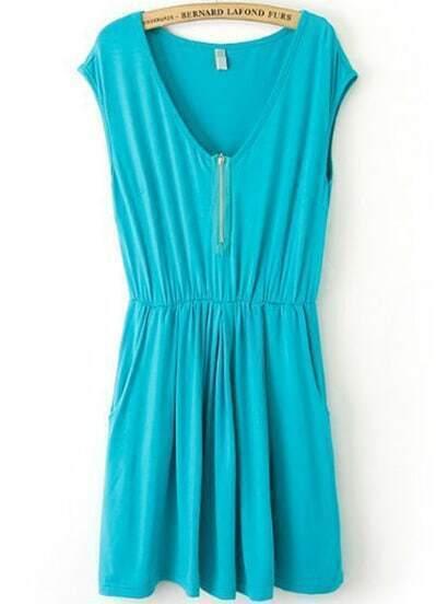 Turquoise V Neck Sleeveless Zipper Pleated Dress