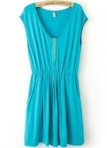 Turquoise V Neck Sleeveless Zipper Pleated Dress