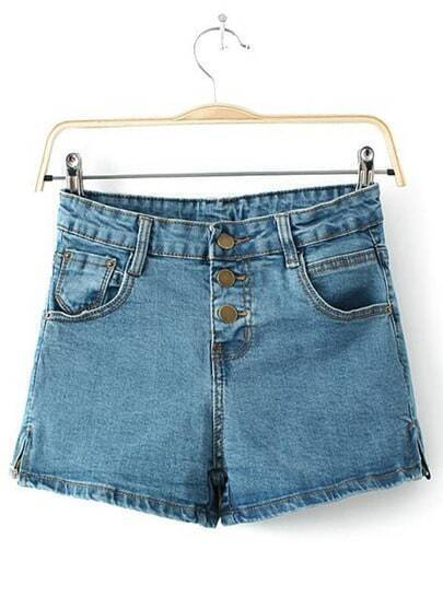Blue Buttons Pockets Denim Shorts