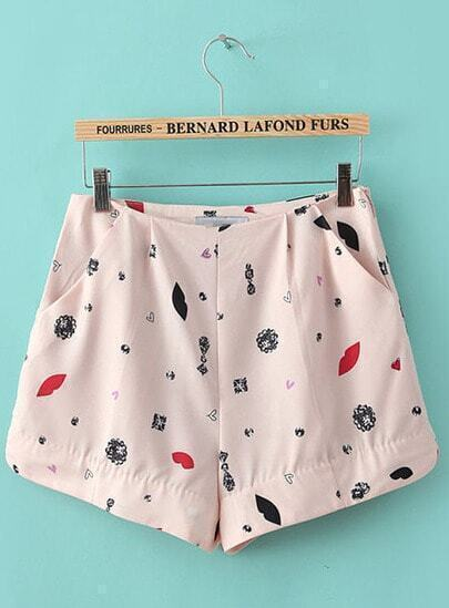 Pink Pockets Heart Print Chiffon Shorts