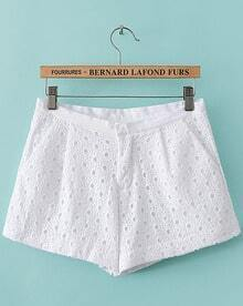 White Hollow Embroidered Pockets Shorts