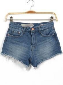 Blue Bleached Fringe Denim Shorts
