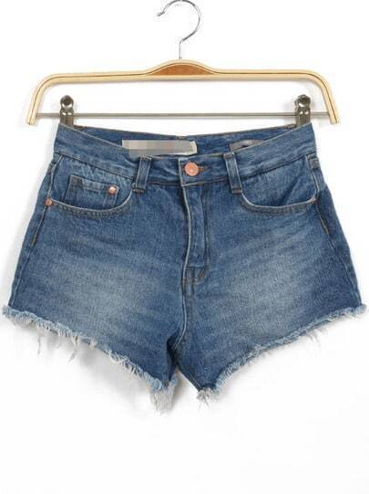 Blue Bleached Fringe Denim Shorts