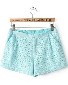 Blue Hollow Embroidered Pockets Shorts