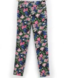 Multicolor Pockets Floral Slim Pant