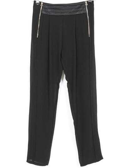 Black Zipper Casual Chiffon Pant