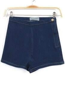 Navy High Waist Zipper Denim Slim Shorts