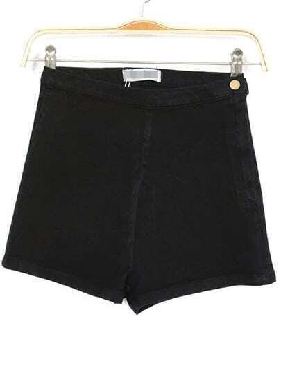 Black High Waist Zipper Denim Slim Shorts