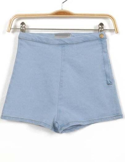 Blue High Waist Zipper Denim Slim Shorts