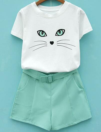 White Short Sleeve Cat Print Top With Green Shorts