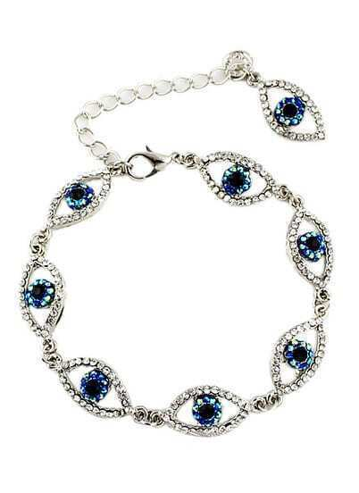 Silver Diamond Eyes Chain Bracelet