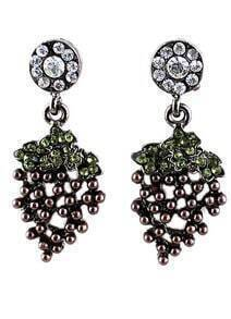 Retro Silver Diamond Grapes Earrings
