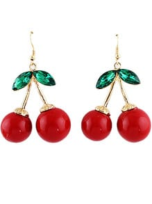 Gold Diamond Red Glaze Cherry Earrings