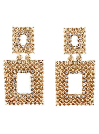 Gold Diamond Hollow Square Earrings
