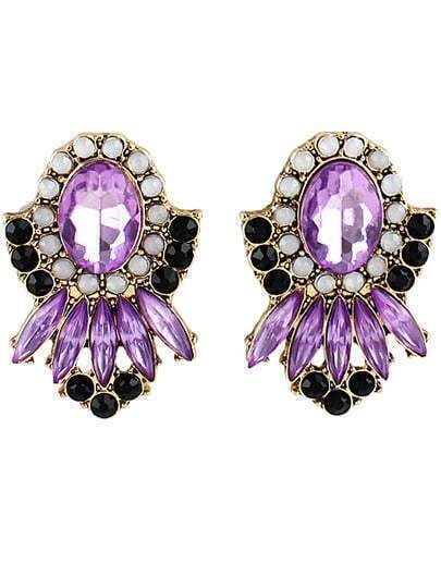 Purple Gemstone Gold Bead Earrings