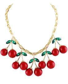 Gold Diamond Red Glaze Cherry Necklace
