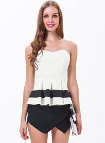 White Color Block Ruffle Strapless Peplum Top