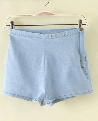 Blue High Waist Denim Shorts