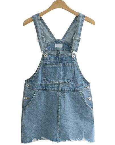 Blue Strap Ripped Pockets Denim Dress