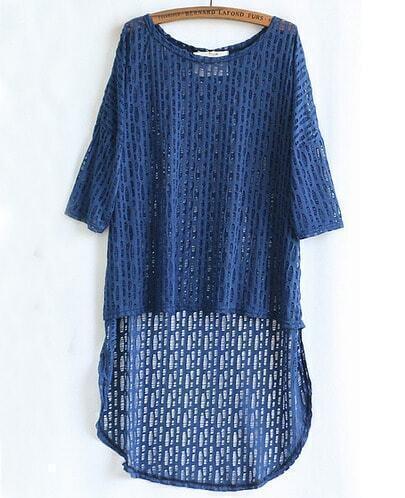 Blue Half Sleeve Asymmetrical Hollow Sweater