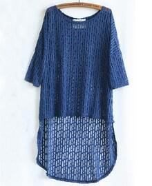 Blue Half Sleeve Asymmetrical Hollow Sweater