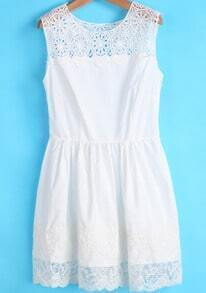 White Sleeveless Contrast Lace Pleated Dress