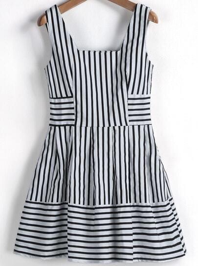 Black White Striped Sleeveless Ruffle Dress