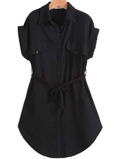 Black Lapel Short Sleeve Belt Pockets Dress