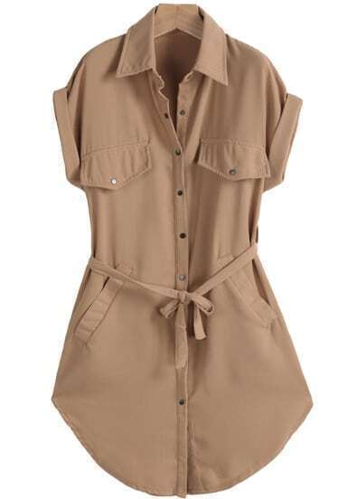 Yellow Lapel Short Sleeve Belt Pockets Dress