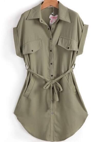 Army Green Lapel Short Sleeve Belt Pockets Dress