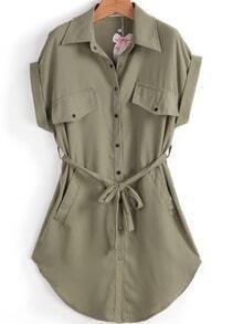 Army Green Lapel Short Sleeve Belt Pockets Dress