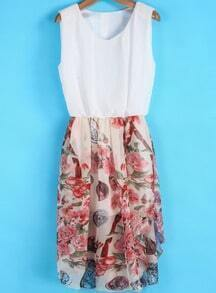White Sleeveless Contrast Vintage Floral Chiffon Dress