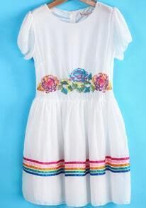 White Short Sleeve Embroidered Striped Chiffon Dress
