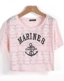 Pink Short Sleeve MARINES Anchors Print T-Shirt