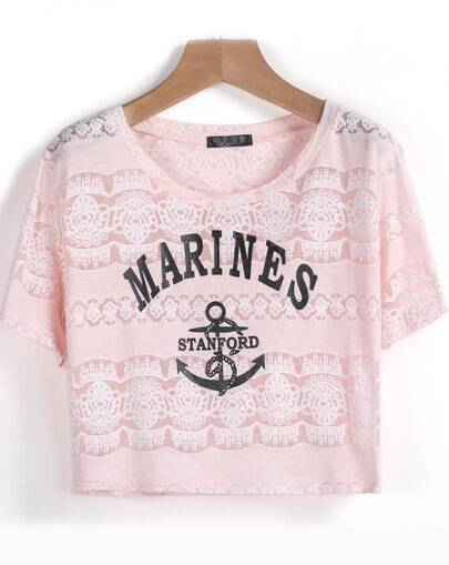 Pink Short Sleeve MARINES Anchors Print T-Shirt pictures