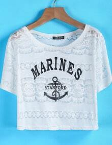 White Short Sleeve MARINES Anchors Print T-Shirt