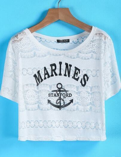 White Short Sleeve MARINES Anchors Print T-Shirt