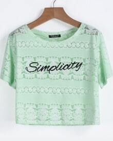 Green Short Sleeve Letters Print Lace T-Shirt